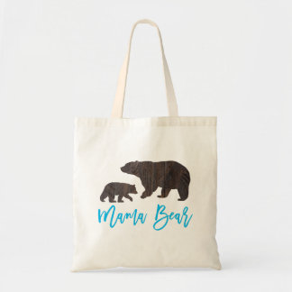 Rustic Mom and Baby Bear Tote Bag