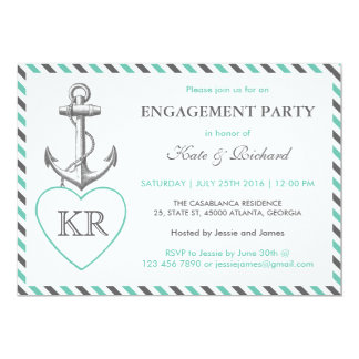 Rustic Monogram Anchor Engagement Party Invitation