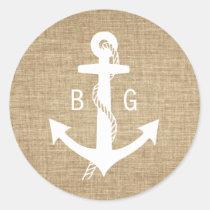 Rustic Monogram Anchor Nautical Wedding Stickers