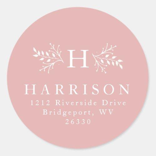 Rustic monogram blush pink return address sticke classic round sticker