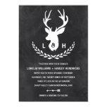 Rustic Monogram | Chalkboard Stag Wedding Card