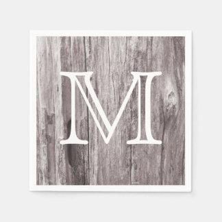 Rustic Monogram Country Weathered Wood Vintage Napkin