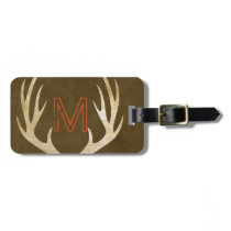 Rustic Monogram Custom Bag Tag with Antlers