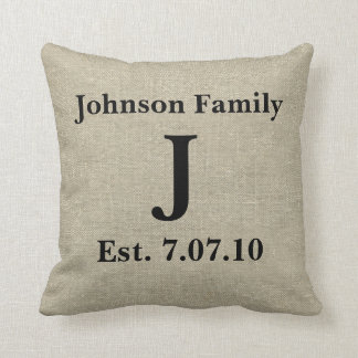 Rustic Monogram Linen Country Personalized Throw Pillow