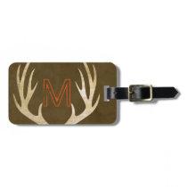 Rustic Monogram Luggage Tag with Antlers