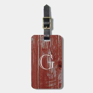 Rustic Monogram | Red Distressed Barn Wood Grain Luggage Tag