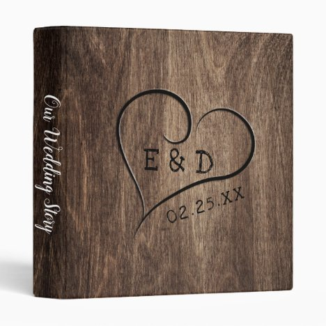 Rustic Monogram Wood Heart Wedding Album 3 Ring Binder
