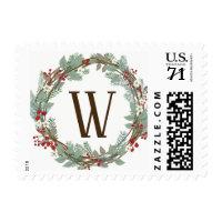 Rustic Monogram Wreath Christmas Postage