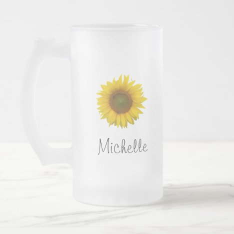 Rustic Monogram Yellow Sunflower Frosted Glass Beer Mug