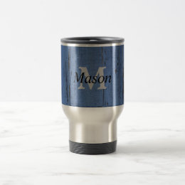 Rustic Monogrammed Blue Wood Black Script Manly Travel Mug