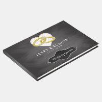 Rustic Monogrammed | Simple Chalkboard Wedding Guest Book