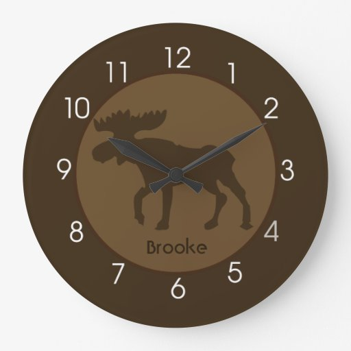 Rustic Moose Cabin Log Home Wall Clock
