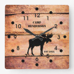 Rustic Moose Camp Plank Style Acrylic Clock