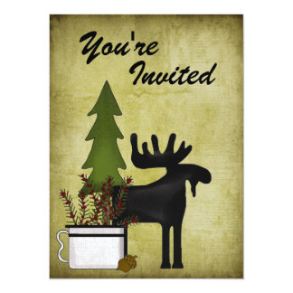 "Rustic Moose Family Reunion Party Invitation 5.5"" X 7.5"" Invitation Card"