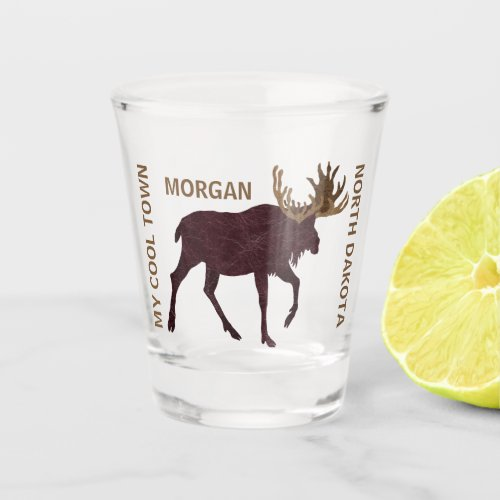 Rustic Moose Faux Leather Cool Add Your State Shot Glass