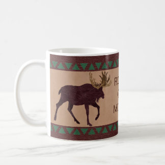 Rustic Moose Faux Leather-Look Country Charm Coffee Mug