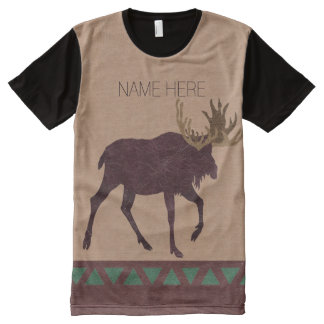 Rustic Moose Faux Leather-Look Fashion All-Over Print Shirt