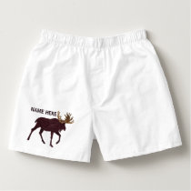 Rustic Moose Faux Leather-Look Fashion Boxers
