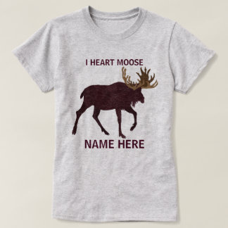 Rustic Moose Faux Leather-Look I Heart Moose T-Shirt