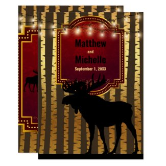 Rustic Moose, Gold Aspen Trees and Lights Wedding Invitation