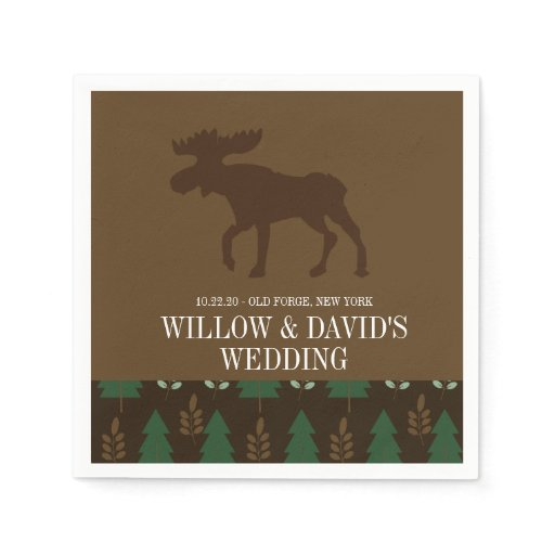 Rustic Moose Nature Pine Tree Napkin
