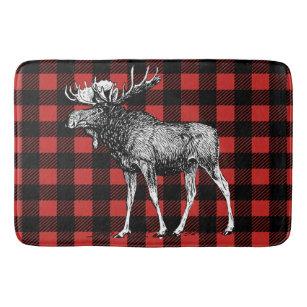 Rustic Moose Red Black Buffalo Lumberjack Plaid Bathroom Mat