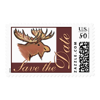 Rustic moose Save the Date wedding stamps