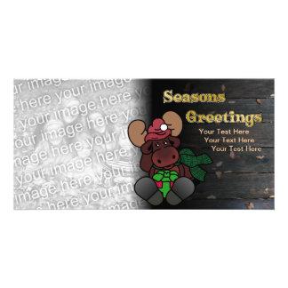 Rustic Moose Seasons Greetings Holiday Card