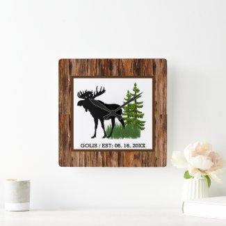 Rustic Moose with Wood Grain Trim Wall Clock