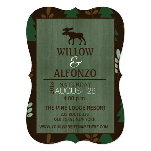 Rustic Moose Wood grain Wedding Invitation