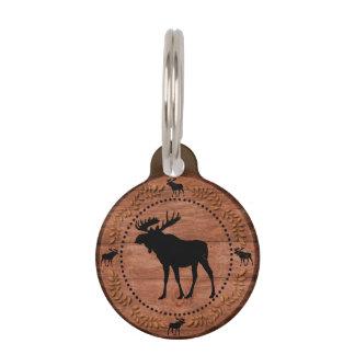 Rustic moose wooden circle custom pet id tag