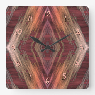 Rustic Mosaic American Native Indian Cabin Pattern Square Wall Clock