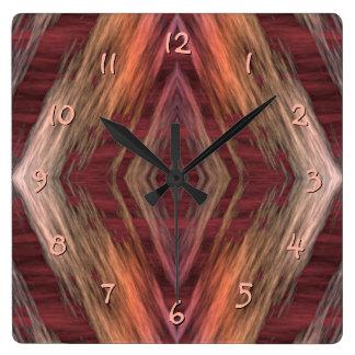 Rustic Mosaic American Native Indian Cabin Pattern Square Wall Clock