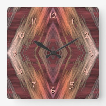 CozyLivin Rustic Mosaic American Native Indian Cabin Pattern Square Wall Clock