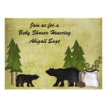 Rustic Mountain Bear Baby Shower Invitation