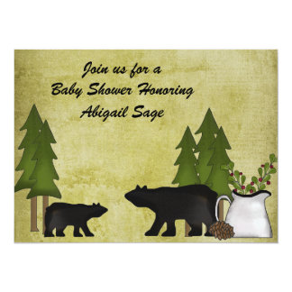 "Rustic Mountain Bear Baby Shower Invitation 5.5"" X 7.5"" Invitation Card"