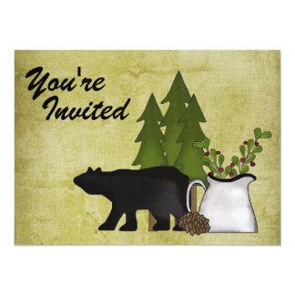 "Rustic Mountain Bear Family Reunion Invitation 5.5"" X 7.5"" Invitation Card"