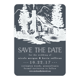 Rustic Mountain Cabin Wedding Save the Date Card