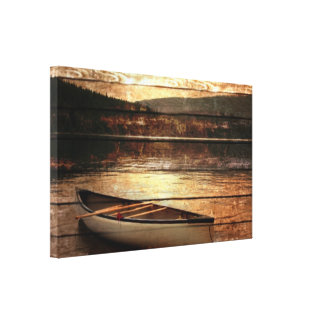 Rustic Mountain Canoe lake sunset landscape Stretched Canvas Print