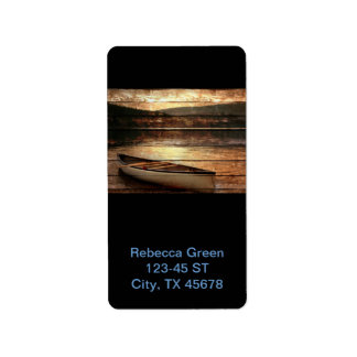 Rustic Mountain Canoe Trip Design Custom Address Label