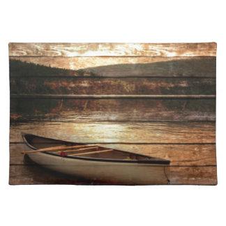 Rustic Mountain Canoe Trip Design Cloth Placemat