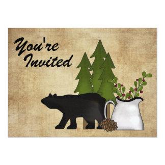 "Rustic Mountain Country Bear Birthday Invitation 5.5"" X 7.5"" Invitation Card"