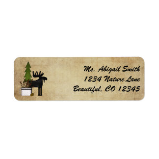 Rustic Mountain Country Moose Address Label