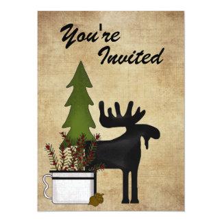 "Rustic Mountain Country Moose Birthday Invitation 5.5"" X 7.5"" Invitation Card"