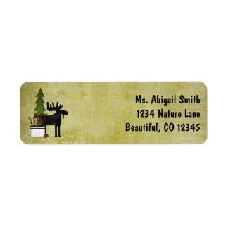 Rustic Mountain Country Silhouette Moose Address Label