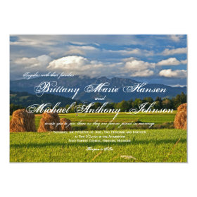 Rustic Mountain Field Country Wedding Invitations 4.5