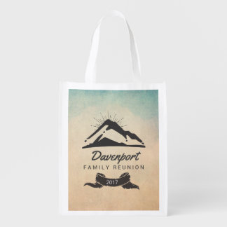 Rustic Mountain Illustration Family Reunion Grocery Bag