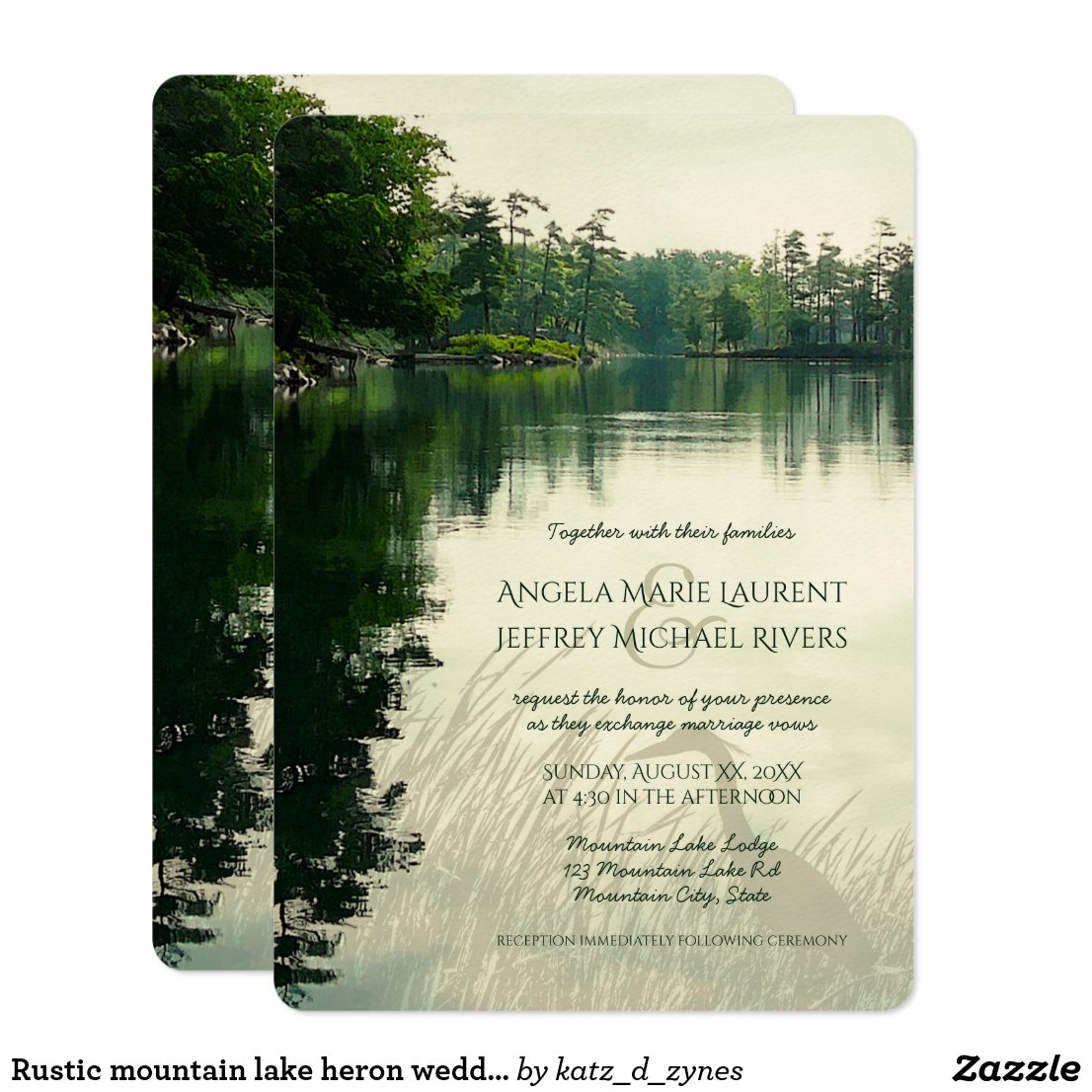 Rustic mountain lake heron silhouette wedding invitation