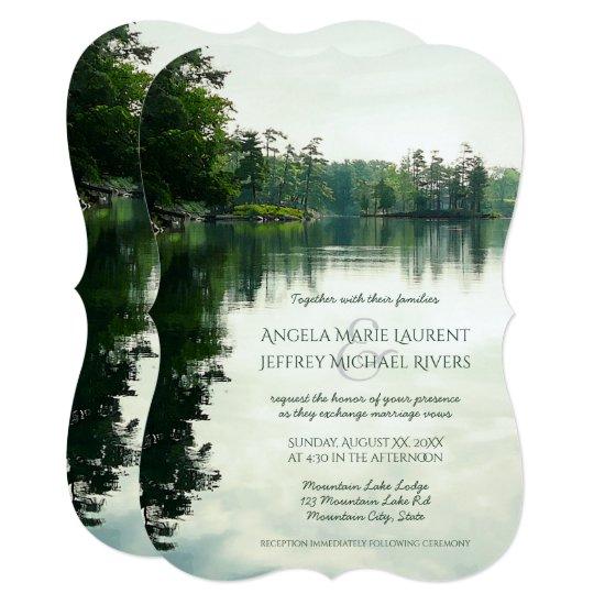 Rustic mountain lake reflection wedding invitation