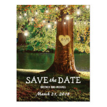 Rustic Mountain Lake Twinkle Lights Save the Date Postcard